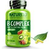 NATURELO B Complex - Whole Food - with Vitamin B6, Folate, B12, Biotin - Vegan - Vegetarian - High Potency - Non GMO - Gluten