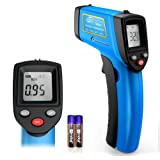 RISWOJOR Infrared Thermometer Cooking Digital Temperature Gun,Adjustable Emissivity &MAX/MIN/at/Cal Temp Gun; -58°F~752°F(-50