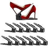 靴ホルダー 靴 収納 シューズホルダー 下駄箱省スペース 4段階高さ調整 滑りとめ (ブラック, 11)