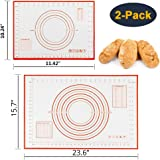 Silicone Pastry Baking Mat (40x60cm) & (26x29cm), JOYAUS Non-Stick Reusable Rolling Pastry Mat with Measuring Guide for Kitch