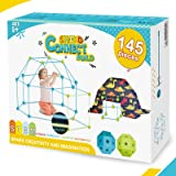SWIND Kids Fort Building Kit , 145PCS Creative STEM Construction Fort Kit Toys Glow in The Dark Fort Builder Set for Boys Gir