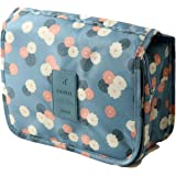 ロジック トイレタリーバッグ トラベルポーチ 吊り下げ [大容量収納 旅行・出張時に便利] 化粧品・小物入れ (全3色) 花柄×ライトブルー