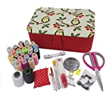 ISOTO Fabric Sewing Basket with Sewing Kit Accessories Storage and Organizer Complete Kit Tools Gift Grandma Mother DIY Learn