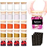 SAIOOL 20 Pack - 2.5 FL OZ (73ml) Mini Spice Jars with Wood Lid, Easy to Clean-BPA Free & Dishwasher Safe -Try filling with S