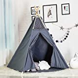 Wonder Space Kids Teepee Pompon Tent - 5' Large Handcrafted Grey Lace Pom Pom Cotton Canvas Play Tent Kids Playhouse by, Five