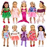 ebuddy 10-Sets Fashion Doll Clothes and Accessories with Popular Elements Horn Style,Unicon,Flamingo,Mermaid,Princess Dress f