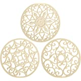 Smithcraft Set of 3 Silicone Intricately Carved Trivet Mats Flexible Durable Non Slip Multi-Use Hot Pad Counter Mat (Beige-Ca