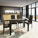 Artiss 5-Piece Dining Set - 1 x Metal Dining Table with Tempered Glass Top and 4 x PVC Upholstery Chairs