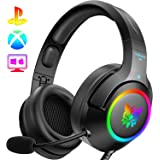 ONIKUMA Gaming Headset Xbox One Headset with 7.1 Surround Sound Stereo, PS4 Headset with Noise Canceling Mic & LED Light, Com