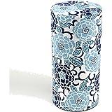Ryu Mei Edo Sakura Yuzen Japanese Tea Canister | Imported Japanese Tea Storage Tin | 202E01 | Blue Sakura