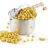 Cook N Home 02626 6 Quart Aluminium Stovetop Popcorn Popper Silver