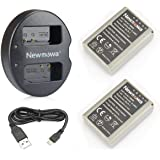 Newmowa BLN-1 Battery (2-Pack) and Dual USB Charger for Olympus BLN-1, BCN-1 and Olympus OM-D E-M1, OM-D E-M5, Pen E-P5,OM-D