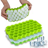 Ice Cube Trays with Lids, 2 Pack Home-Mart 74 Ice Cubes Food Grade Silica Gel Flexible with Spill-Resistant Removable Lid Ice
