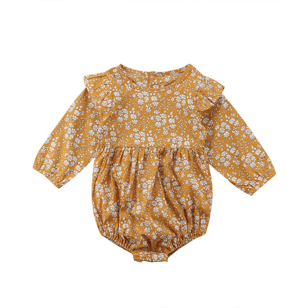 a636d4eadf2ca Laraandlory Baby Clothes Girls Baby Romper Coverall Shoulder Ruffle Flower  Back Button Cute Baby Shower Birthday Celebration (0-3Y)