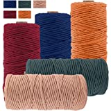 JeogYong Pack of 5 Macrame Cord 3mm x 109 Yards, Natural Cotton Macrame Cord, 4 Stand Craft Cord Spool Natural Twisted String
