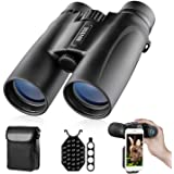 Binoculars for Adults, 10X42 Roof Prism Low Light Night Vision Lightweight Compact Binocular for Bird Watching, Hunting, Trav