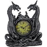 Twin Evil Dragons Antiqued Mantel Clock Table Desk