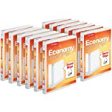 """Cardinal Economy 3-Ring Binders, 1/2"""" Round Rings, Holds 125 Sheets, ClearVue Presentation View, Non-Stick, White, Carton of"""