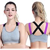 Sports Bras-Criss-Cross Back Strappy Sports Bras with Removable Cups-Athletic Bras