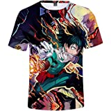 Flyself Men's Anime My Hero Academia T-Shirt Cosplay Boku No Hero Academia 3D Printed T-Shirt Short Sleeve Summer Tops