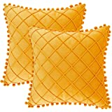 Andaot Set of 2 Boho Decorative Throw Pillow Covers with Pom Poms for Living Room/Couch/Bed, Yellow Pillow Covers 18x18 Inch,