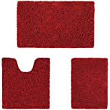 HOMEIDEAS Microfiber Absorbent Bath Rug, Chenille Washable Floor Mat -Non Slip Soft Carpet Red