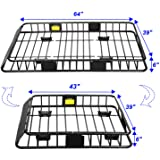 Roof Rack Cargo Basket, Universal Car Top Carrier Rack Adjustable Length 43/64 inches Anti-Rust Car Top Luggage Holder Carrie