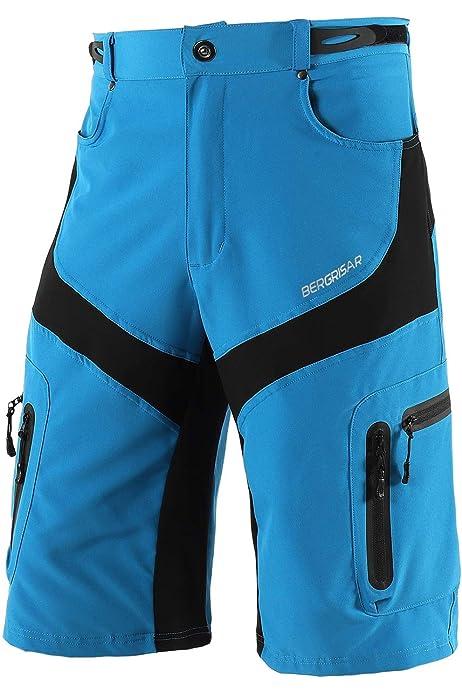 BERGRISAR Mens Cycling Shorts MTB Mountain Bike Bicycle Shorts Zipper Pockets 1806BG