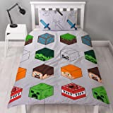 Minecraft Pixel Single Duvet Cover Officially Licensed Reversible Two Sided Creeper & TNT Design with Matching Pillowcase, Po