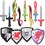 Pack of 12 Foam Swords and Shields Playset, Medieval Combat Ninja Warrior Weapons Costume Role Play Accessories for Kids Part