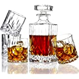 ELIDOMC 5PC Italian Crafted Crystal Whiskey Decanter & Whiskey Glasses Set, Crystal Decanter Set With 4 Whiskey Glasses, Whis