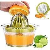 4 in 1Multi-Function Manual Juicer, Citrus Lemon Orange Hand Squeezer Egg Separator with 2 Anti-Slip Reamers, Strainer, Grate