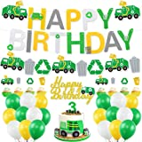 Garbage Truck Birthday Party Supplies, Trash Truck Party Supplies, Happy Birthday Banner, Green White Yellow Latex Balloons,