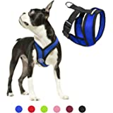 Gooby - Comfort X Head-in Harness, Choke Free Small Dog Harness with Micro Suede Trimming and Patented X Frame, Blue, Small