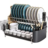 2 Tier Large Dish Drying Rack, Boosiny 304 Stainless Steel Dish Rack and Drainboard Set for Kitchen Counter, Big Dish Drainer