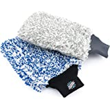 The Rag Company (2-Pack) Premium Cyclone Korean Microfiber Wash Mitts [One Blue + One Grey] - Totally Scratch-Free, LINT-Free