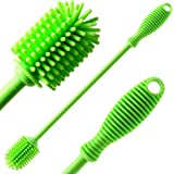 "Silicone Bottle Cleaning Brush with 12"" Long Handle - Flexible Ergonomic Design - Best Scratch-Free Cleaning Tool for Water B"