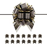 BTSCHOOL 15 Large Black Ribbon Bows, 6 inches, Ribbon Pull Bows for Gift Wrapping, Gift Wrap Bows for Decorating Presents