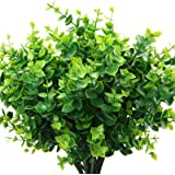 ElaDeco Artificial Boxwood (Pack of 7),Artificial Farmhouse Greenery Boxwood Stems Fake Plants and Greenery Springs for Farmh