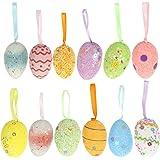 TOYANDONA 12pcs Easter Egg Ornaments Colorful Egg Hanging Ornaments Glittery Foam Easter Eggs Easter Wreath Decoration Kids S