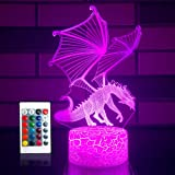 SETIFUNI Dragon lamp Dragon Toys Night Light 16 Colors Changing 3D Optical Illusion Bedside Lamp Birthday Gifts for 3 4 5 6+Y