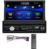Regetek Single Din Car Stereo 7 inch Bluetooth Car Audio Video Player RDS FM AM Car Radio Player USB/AUX/TF HD Telescopic Ret