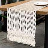 OurWarm Natural Macrame Table Runner Cotton Crochet Lace Boho Wedding Table Runner with Tassels for Bohemian Rustic Wedding B