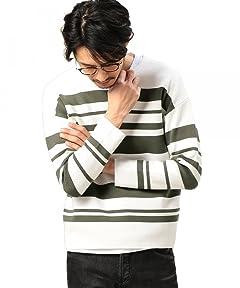 Stripe Milano Rib Crewneck Shirt 1213-105-3196: Grey