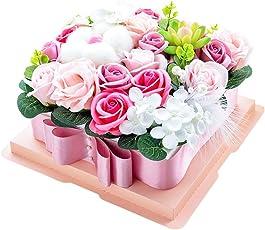 ソープフラワー 石鹸花束ボックス ギフトボックス コットン ウサギ ちょう结び 枯れない花 ブーケ バラ型造花 創意誕生日プレゼント 結婚記念日 進学祝い 卒業お祝い 敬老の日 記念日 母の日 父の日 (コットン ピンク)