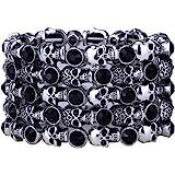 YACQ Women's Skull Stretch Cuff Bracelets - Elastic Band Fit Wrist 7 to 8 Inch - Lead & Nickle Free - Women Biker Jewelry