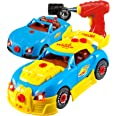 Think Gizmos Take Apart Racing Construction Car Toy for Boys and Girls Ages 3,4,5,6,7 - 30 Piece Set with Working Drill, Ligh