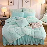 LIFEREVO Luxury Plush Shaggy Duvet Cover Set (1 Faux Fur Duvet Cover + 2 Pompoms Fringe Pillow Shams) Solid, Zipper Closure (