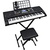Axus Digital AXP2PK 61 Key Beginner Touch Sensitive Electronic Keyboard Piano Package for Students with Stand, Stool, Headpho