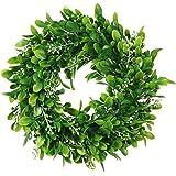 "11"" Boxwood Wreath Round Wreath Artificial Wreath Green Leaves Wreath Door Wall Window Decoration"